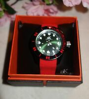Adee Kaye Men's Watch Red Silicone Band BLACK Rotating Bezel AK7118 new