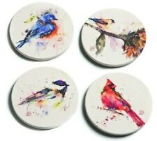New listing Demdaco Dean Crouser Songbird Watercolor 4 x 4 Absorbent Ceramic and Cork Set of