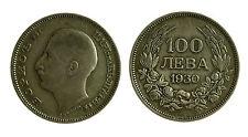 pcc2034_8)  100 LEVA 1930 BORIS III BULGARIA SILVER