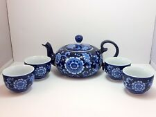 Pier 1 Mandarin Teapot and 4 Cups Cobalt Blue and White Porcelain Sake Set