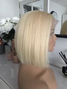 "New 613 Light Blonde Lace Front Bob 8"" Glueless 100% Virgin Human Real Hair Wig"