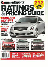 CONSUMER REPORTS, RATINGS & PRICING GUIDE,  JUNE 2013  ( 232 CARS TRUCKS, SUVs )
