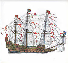 VINTAGE HISTORICAL SAILING SHIP PRINT ~ SOVEREIGN OF THE SEAS 1637