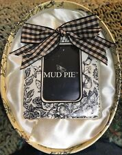 "MUD PIE CERAMIC NEW IN BOX TOILE W/ BOW FRAME FOR  2"" X 3"" PHOTO"
