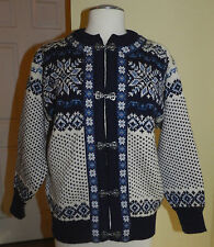 Mens Dale of Norway Cardigen Sweater Blue & White Pewter Hooks  X-Small