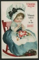 Clapsaddle~ Woman's Sphere Is In The Home~Anti Suffrage Valentine Postcard -b605
