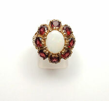 Vintage Opal and Garnet Ring 9 Carat yellow  Gold Cluster circa 1980