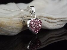 Solid Sterling Silver 925 Pink Crystal Heart Pendant 16/18'' Necklace Gift Boxed
