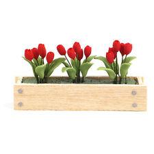 TULIPANI ROSSI in cassetta per fiori window box RED TULIPS bambole Tube 1:12 art. 4269