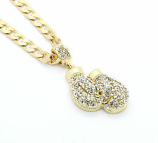 """Mens Gold Plated Iced Out Boxing Gloves Small Pendant 24"""" Cuban Necklace"""