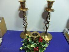 vtg brass candle sticks holder 2x barley twist style 1x with Christmas wreath