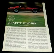 CHEVROLET CORVETTE STING RAY SPORTS CAR ARTICLE-1977-24 YEARS LATER