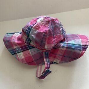 Baby Gap Girl Hat Sun Hat Plaid 0-6 Months Bucket Pink Blue