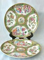 """Pair Of True Antique Chinese Famille Rose Medallion Porcelain 8 3/8"""" Deep Plates"""