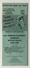Vintage 1958 La Metropolitan Transit Authority Timetable Line 75B Burbank bus