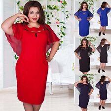 Women Summer Office Work Dress Chiffon Short Sleeve Holiday Plus Size Dress Hot