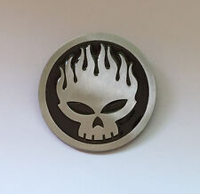 "♈ Flame Skull Us Seller ♈ Antique Silver Color 3"" Awesome Belt Buckle"