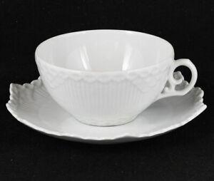 Royal Copenhagen White Full Lace Teapot, Cup, Sald Plate - SELECT CHOICE