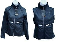 New NIKE + Women's Reflective Rain Jacket Converts to Gilet Black S