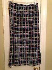 FOUR SEASON Poly Black Red Green Blue White Faux Wrap Skirt - Size 18 - 20 EUC