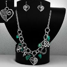 Lucky Horseshoe Heart Elephant Western Turquoise Color Necklace Earrings #388-B