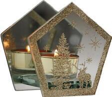 Gold 10cm Glass Christmas PENTAGON Single Tea Light Candle Holder Ornament