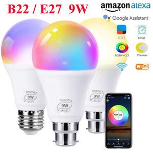 9W B22/E27 Smart LED Light Bulbs Wireless RGB LED Lamp App Control Alexa/Google
