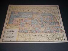 1891 Nebraska Antique color state map original authentic