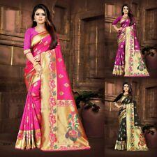New Indian Silk Saree Jacquard Work Golden Border Pallu Peacock Floral Weaving
