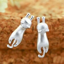 New Cat Kitten Earrings Sterling Silver 925 Climbing Kitty Studs