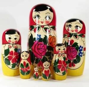 Matryoshka Nesting Doll Russian Girl 7 Pieces Set - Semionov Style Matryoshka