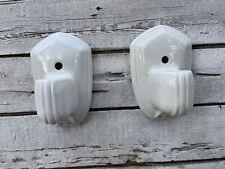 Vintage Pair White Porcelain Art Deco Wall Light Fixture Sconce Restore