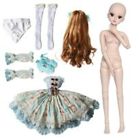 60cm BJD Puppe Doll 1/3 Girl Puppen Mit Gesicht Makeup Perücke Kleid Full Set