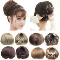 Straight Bun Hair Piece Hepburn Head Scrunchie Updo Hair Ponytail Extensions