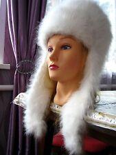 WOMEN'S HAT Shapka 100% ANGORA RABBIT FIBER fluff handknitted Russian Ushanka