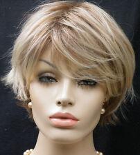 Perücke  blond silber aschblond gesträhnt wie Echthaar   Kurzhaar kurz glatt