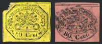 Roman States #17 Yellow & #18 Rose 1867  Imperfs Used Glazed Paper Rare Stamps