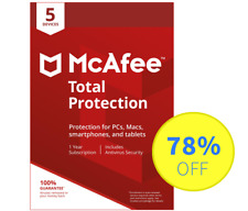 McAfee Total Protection 2018 Antivirus - 5 Devices, 1 Year (Subscription)