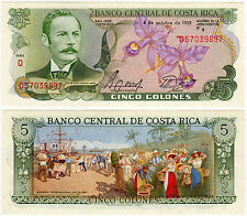Costa Rica Paper Money 5 Colones P-236d UNC October 4, 1989