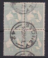 K764) Australia 1916 1/- Blue Green Kangaroo Die II, postally used block of 4.