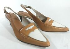 LANDS' END 9 WHITE TAN LEATHER Pointed TOE Sling Back Heels