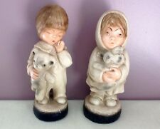 Vintage M. Grower Mfg by Esco Chalkware Boy and Girl Statues 1974