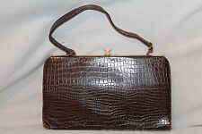 Vintage 1950's  Dark Brown Real Leather Crocodile Kelly Handbag Purse