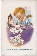 POSTCARD   COMIC   DONALD  McGILL  Children  Writing  a letter