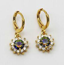18K Yellow Gold Filled - Mystic Topaz Sunflower Zircon Gemstone Hoop Earrings