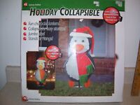 2002 Gemmy holiday collapsible penguin Lights and stands    1372