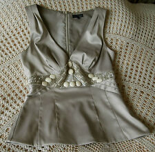 Party top by SIGNATURE NEXT Size 10 Beige with a satin sheen Beads and sequins