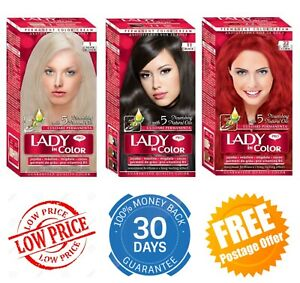 Permanent Color Cream Hair Dye Lady in Color Hair Colourant with 5 Natural Oils