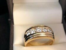 VERY WIDE-Wedding Band 14K Yellow Gold- 5 Channel Set NATURAL DIAMONDS-1 CARAT