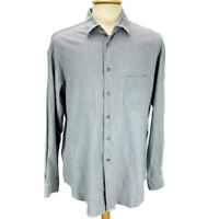 Armani Collezioni Mens Button Front Shirt Blue Crosshatch Pattern Size L Italy